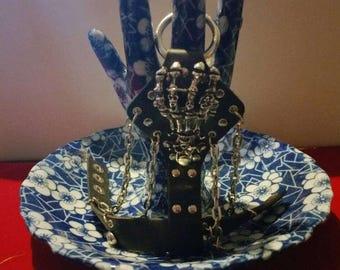 Mens leather stud slave bracelet skeleton black leather cool rocker goth
