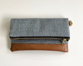 Ready to ship! Blue herringbone foldover clutch with brown faux leather