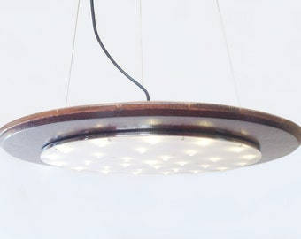 Halo pendant LED light, recycled wine barrel top