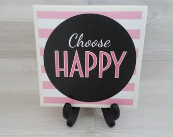 Pink Tile Quote Art Pink Black White Mother's Day Gift Teacher Gift for Friend Housewarming Gift for Survivor Black and White Pink Trivet