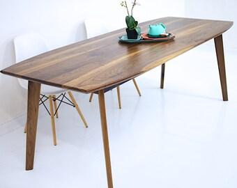 Dining Table Walnut Dining Table Modern Walnut Table Wood Dining Table Mid & Walnut dining table   Etsy