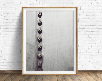 "black and white photography, large art, large wall art, instant download printable art, digital download, industrial art - ""Rivets No. 1"""