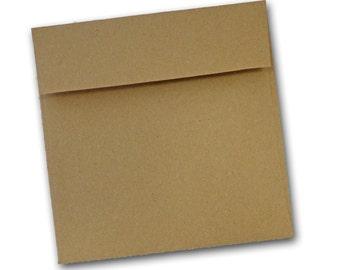 Brown Bag KRAFT  6 inch SQUARE  flap Envelopes 25 pack