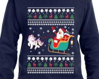 Unicorn Sweater Ugly Christmas Sweater Christmas Hoodie Santa Sweater Santas Sleigh Xmas Gift Xmas Sweatshirt Christmas Unicorn TH366 cRZO3s