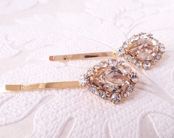 Champagne Hair Pins with Swarovski Crystal on Gold Plated Bobby Pin for Vintage Art Deco Bridal Hair Style or Victorian Wedding Headpiece
