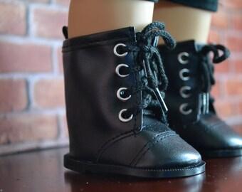 Puppe-Schuhe - schwarz-Wandern-Boots - passt American Girl