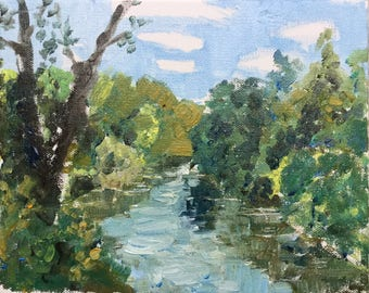 Lehigh river, summer 2017, ORIGINAL small oil on canvas landscape painting by Shirley Kanyon, 8X10X1.5 inch, 20X25X3.5 cm