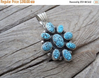 ON SALE High grade turquoise pendant handmade in sterling silver with natural blue Kingmand spiderweb turquoise