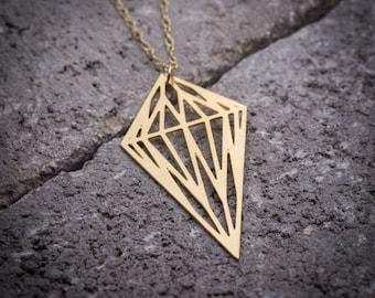Gold diamond necklace geometric necklace gold rhombus necklace gold shaped diamond goldfield necklace unique necklace woman necklace