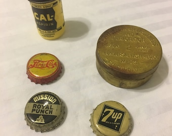 2 Vintage Tins, Containers and 3 old Bottle Caps