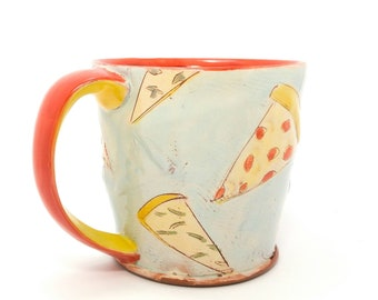 Puffy Pizza themed Earthenware mug. Wheel thrown, food safe mug by Kaitlyn Brennan/Brennan pottery. This is a big mug perfect for coffee