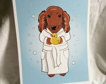 Bubbly Longhaired Dachshund - 8x10 Eco-friendly Print