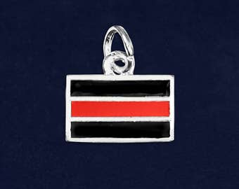 10 Firefighter Rectangle Red Line Charms (10 Charms) (C-03-FRR)