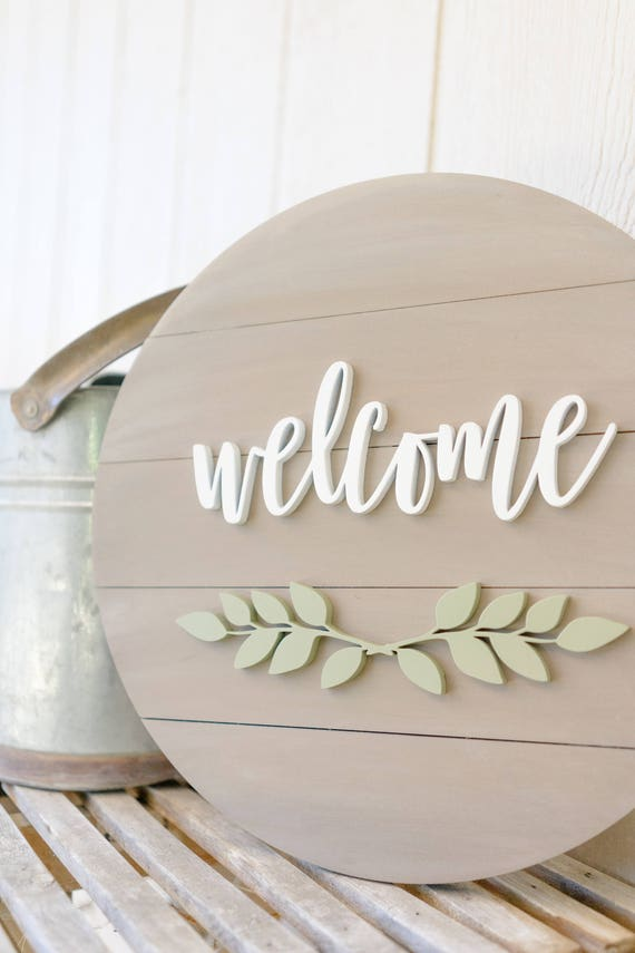 Welcome wood sign wooden welcome sign Home Decor Signs