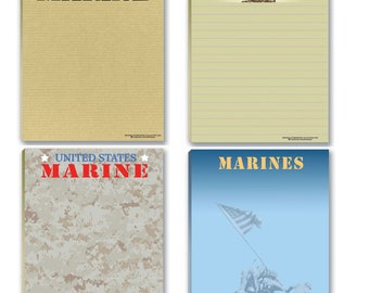 Marine Corps Notepads - 4 Assorted USMC Note Pads - Military - Armed Forces - Semper Fi - 629