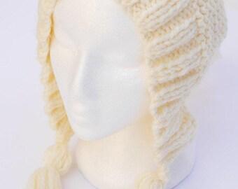 hand knit beanie, cream beanie, off white handknit winter hat, cream hooded beanie, womens beanie knitwear by SpunWool