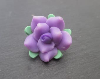 Fimo flower purple with purple heart 20 mm in packs of 2