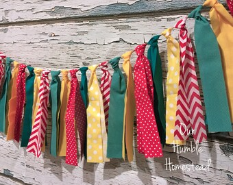 Circus Fabric Banner - Red, Yellow, and Teal - Birthday Banner, Bunting, Garland