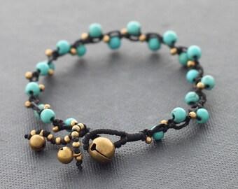 Dotty Mini Turquoise Brass Bracelet