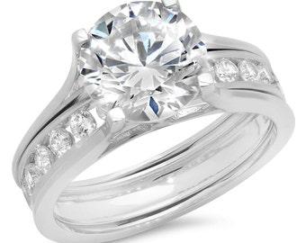 Bridal Bands Sets, Bridal Halos Sets, Bridal Rings Sets For Women, 2.89CT Princess Cut Engagement Wedding Bridal Ring Band 14k White Gold