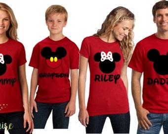 Disney Family Shirts, Family Disney Shirts, Matching Shirts Disney, Mickey and Minnie Head Shirts, Women's Disney Shirt, Disney Trip Shirts