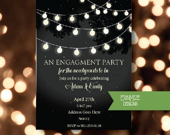 Engagment Party, Bridal Shower, or Wedding, Invitations, Custom, twinkle lights, enchanted