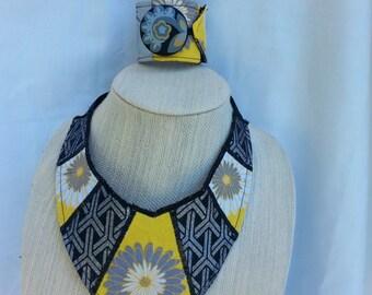 Necklace Yellow/Gray Fabric Bib Style &Cuff Bracelet set