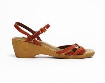 vintage Dexter leather ankle strap wedge heels boho indie shoes 7M