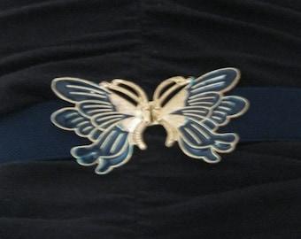 Butterfly Belt, Navy Gold Enamel butterfly belt, butterfly Expandable Belt