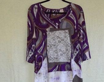 Medium Tunic Upcycled Boho Chic, Shabby Chic Dress, Restyled Clothing by BohemianByChoice