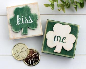 Shamrock Blocks~ St Patricks Day Decor~ Kiss Me Blocks~ St Patricks Day Blocks~ Rustic Saint Patricks Day Decor~ Irish Decor~