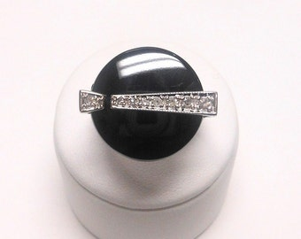 Vintage Art Deco 14K White Gold Onyx and Diamond Ring, Size 7 1/2