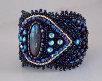 Free Shipping,Summer nights , Bead Embroidery Bracelet, Statement, Beadwork, Seed bead bracelet,Labradorite, Black, Blue, Gold