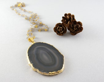 Blue and Gray Agate Geode Slice Stone Necklace in Gold and Gray Moonstone Stone Chain
