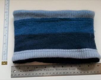 Neckwarmer, Cashmere Neck warmer, Gaiter, Upcycled Shades of Blue