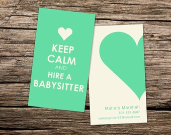 Nannybabysitting business card keep calm and hire a nanny nannybabysitting custom business card keep calm and hire a babysitter colourmoves