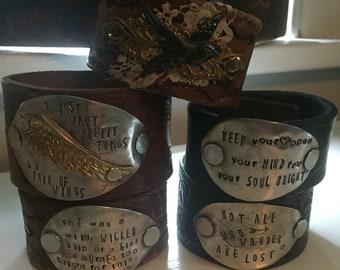 Amazing collection of leather cuff bracelets with the best hand stamped quotes! Each is a one of a kind work of art!