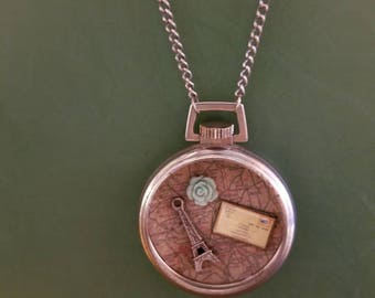 Paris time pocket watch upcycled necklace.