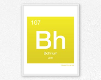 107 Bohrium, Periodic Table Element | Periodic Table of Elements, Science Wall Art, Science Poster, Science Print, Science Gift