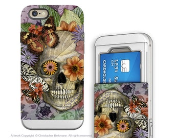 iPhone 6 6s Cardholder Case with Floral Skull Artwork - Butterfly Botaniskull - Credit Card Case for Apple iPhone 6s with Rubber Sides