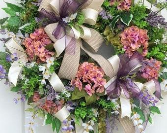Spring Wreath,Summer Wreath,Sassy Doors Wreath, Mother's Day Wreath,Front Door Wreath, Hydrangea Wreath