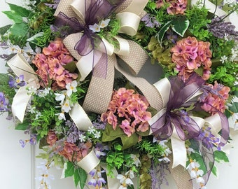 Spring and Summer Wreath,Sassy Doors Wreath, Everyday hydrangea Wreath,Front Door Wreath, Hydrangea Wreath