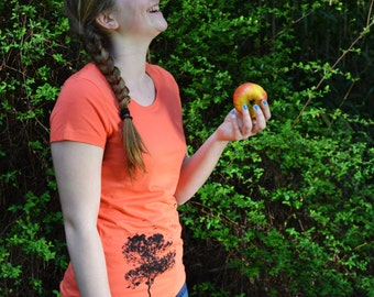 Vrouwen T-shirt Boom Print - Oranje T-shirt Vrouw - Fair trade T shirt - bio katoen T shirt - boom illustratie - eco T-shirt - maat S M L