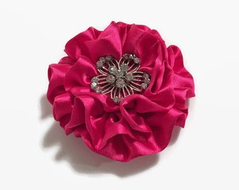 Red Fabric Satin Flower, Satin Flower, Fabric Flower Pin, Satin Flower Brooch, Accessory, Hair Accessory, Red Fabric Flower