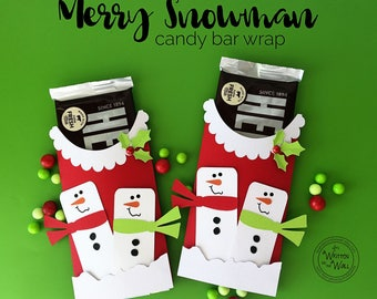 KIT Merry Snowman Candy Bar Wrap, Christmas Party Favor, Neighbor gifts, Co-Worker Treats, Employees Treats, Gifts for Teacher, Client Gifts