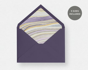 Envelope Liner Template | 5 Envelope Sizes Included Printable Instant Downloads | Marble Paper Purple | No. EDN 5230