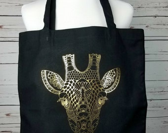 giraffe tote bag, mandala giraffe, canvas tote bag, cotton tote bag, giraffe bag, black gold bag, womens tote bag, shopping bag, mandala bag