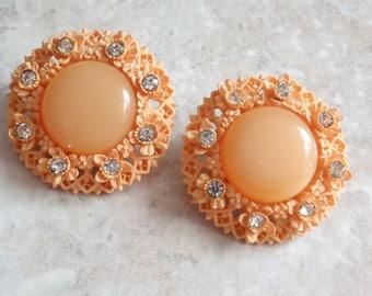 Orange Sherbet Earrings Celluloid Round Rhinestone Moonglow Clip On Vintage 030515SC