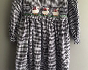 Gingham hand smocked dress with waddling ducks by Silly Goose