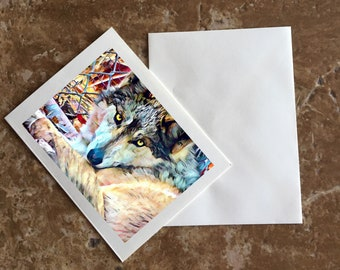 Colorized Wolf Blank Notecard
